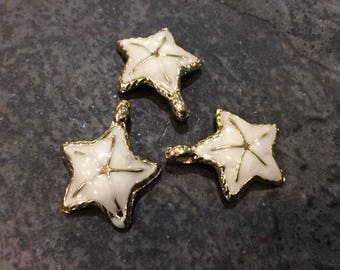 Gold Starfish charms with pearlized white enamel finish Package of 3 charms Beach theme charms