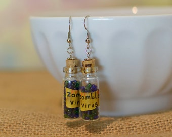 Zombie Jewelry, Zombie Earrings, I love zombies, Zombie Virus, Halloween Jewelry, Halloween Earrings