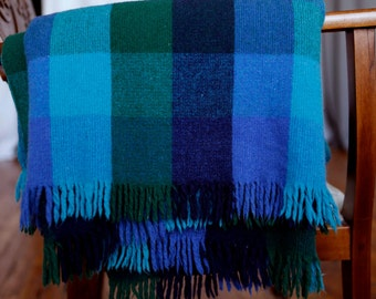 Vintage royal blue, turqoise, green plaid wool blanket with fringe - large squares of color make great large checked pattern throw blanket