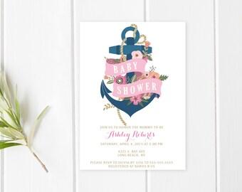 Baby Shower Invitation, Pink Baby Shower Invitation, Girl Baby Shower Invitation, Nautical Baby Shower, Anchor Baby Shower Invite [236]