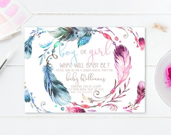 Gender Reveal Invitation, Gender Reveal Party, Boho, Watercolor, Bohemian, Feathers, Gender Reveal Invites, Boho Gender Reveal Invite [579]