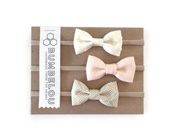 Classic Fabric Bow Set - Blush Neutrals - Headband or Clip