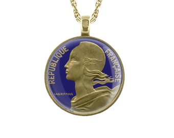 French Coin Pendant with 'Marianne Wearing Phrygian Cap of Liberty' Motif.