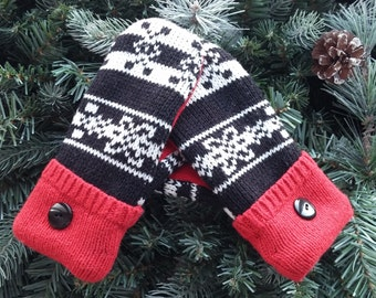 Children's Recycled Sweater Mittens,  Recycled Sweater Mittens, Black White and Red Sweater Mittens - RSM000133