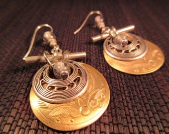 Cool Retro Sterling Silver Brass Earrings