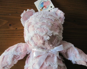 Vintage Chenanimals Cotton CHENILLE Pink Bear Nursery Stuffed Animal Measuring 15 inches long in Excellent Condition