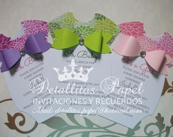 Baby shower invitation, Onesie Invitation girl Onesie Invitations, Baby Shower invitations, Floral invitations