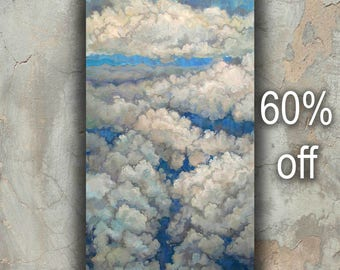 Sky Painting, Cloud Wall Art Decor, Sky Blue Painting, Clouds Wall Art, Light Blue Art, Sky Blue Art