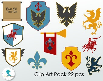 Medieval Knight Digital Scrapbooking Clip Art, Buy 2 Get 1 FREE. Instant Download