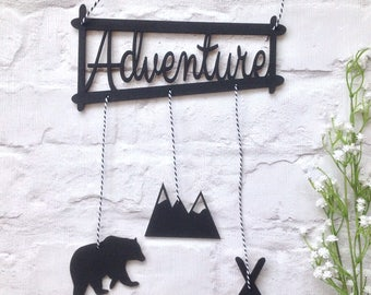 Adventure hanging plaque - baby boy nursery decor - bear mountain teepee