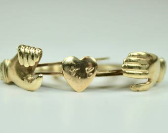 Antique 14K Yellow Gold Fede Gimmel Ring Holding Hands over One Heart Sz 6.5 c1910