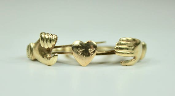 Antique 14K Yellow Gold Fede Gimmel Ring Holding Hands over