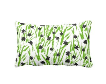 "Green, Black & White Floral Throw Pillow, 13 x 21"" Lumbar OUTDOOR or INDOOR Pillows, Retro/Vintage Ditsy Flowers"