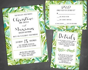 DIGITAL Tropical Leaf Wedding Invitation