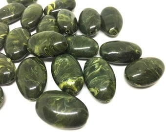 Green Beads, Olive Green, The Beach Collection, 32mm Oval Beads, Big Acrylic beads, Big Beads, Bangle Beads, Wire Bangle, Beaded Jewelry