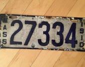 1910 Mass Porcelain License Plate