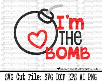 I'm the bomb svg, Boys valentine svg, Valentines Day SVG, valentine cut file, heart svg, cupid svg, socuteappliques, valentine svg
