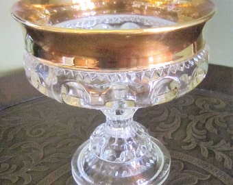 Vintage Glass Bowl, Kings Crown Pedestal Bowl, Footed Clear Glass, Gold Trim Bowl, Indiana Glass Bowl