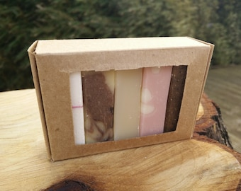 Travel Soap / soap to Go / Travel set soap / natural soap with essential oil / soap samples / gift set kraft box / soap samplers /