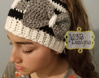 Crocheted Messy Bun Beanie with Bow