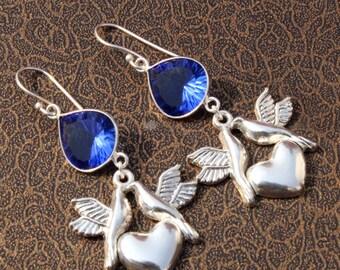 Blue Sapphire Quartz DOVE Bird Charm Earrings / Cone Cave Cut Heart Shaped Gemstone Earrings / Bezel Set Gemstone Earrings MJ26