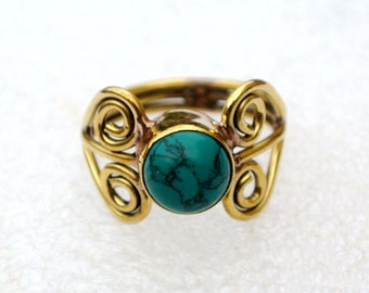 Turquoise Ring Cabochon Ring - Gemstone Ring - Handmade Ring - Semiprecious Stone Ring - December Birthstone Ring