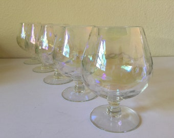 Vintage Iridescent Brandy Snifters..Mid Century Modern Cognac Glasses..Clear Modern Bar Glasses..