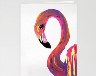 Flamingo - set of 3 -blank note cards