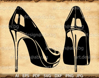Vector LUXURY SHOES, high heels, ai, eps, pdf, svg, dxf, png, jpg Download, Digital image, graphical, discount coupons