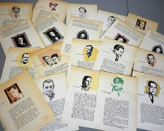 Pack 20 pages ephemeral vintage French book - pages with portrait for projects collage, scrapbooking, newspaper