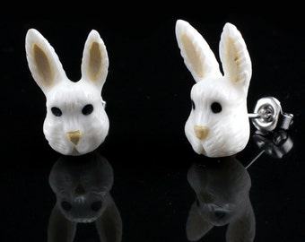 "Hand Carved- ""Bunny Moji"" -Bone with Crocodile and Ebony Wood Inlay Stud Earring - Zoo Moji"