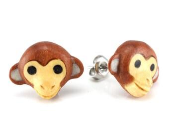 "Hand Carved- ""Monkey Moji"" - Sabo Wood with Crocodile Wood and Bone Inlay Stud Earring - Zoo Moji"