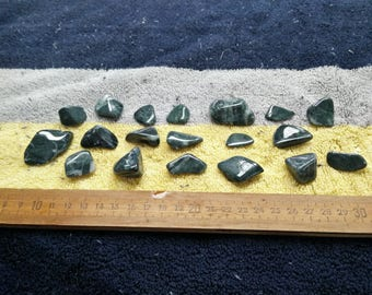100 grams of tumble polished green jade and green nephrite jade