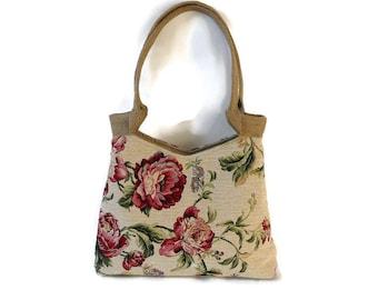 Gobelin shoulder bag, romantic tote bag, every day bag, handbag English rose, romantic gobelin purse,  Valentine gift, romantic gift for her
