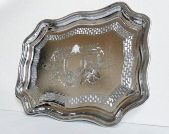Rectangular Metal Tray Ornate Chromium Plate Drinks Snacks Canape Metallic Platter Plate Vintage  Ornate Decorative