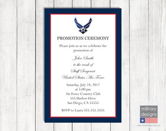 Air Force Promotion Ceremony Invitation, Printable Air Force Promotion Invitation, Military Promotion Invitation, Military Invitation