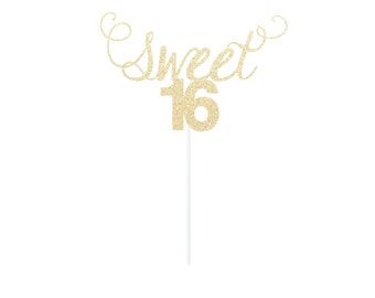Sweet 16 Cake Topper - Any Color Glitter