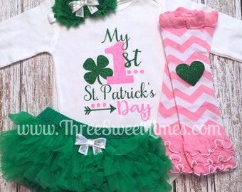My First St. Patrick's Day Baby Girl Clothes Personalized Saint Patrick  Bodysuit Outfit Opt Leg Warmer Headband Tutu Bloomer Pink Green