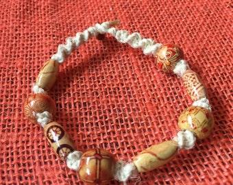 Hemp Bracelet with Red Wooden Beads