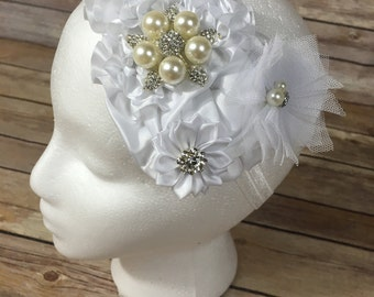 White over the top flower headband