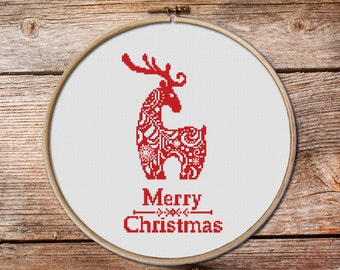 Christmas Deer cross stitch, Red Christmas cross stitch pattern PDF, Deer cross stitch, Christmas Ornaments, cross stitch christmas cards