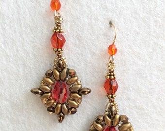 Vintage and Antique Style Orange Crystal Beaded Earrings