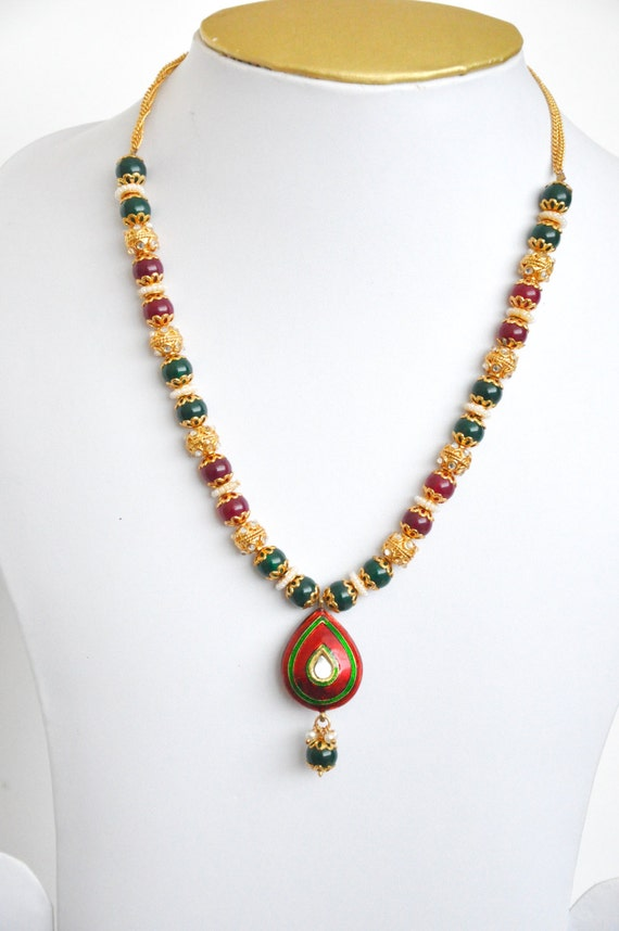 Red, green and gold  beaded necklace | Indian necklace |Indian Jewelery |