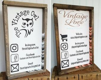 Custom large framed Business card info sign/ booth setup/ market