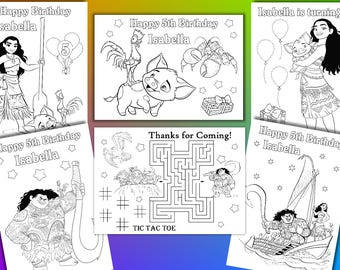 Moana coloring pages, Moana Birthday Party favor, PDF file