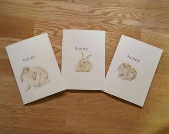 honey bunny. Little brown bunny note card, blank inside, has envelope, framable. Hand-painted ooak.