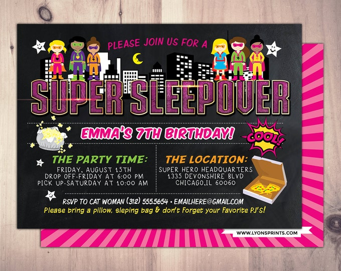 Super Hero party invitation /  sleepover invitation / super hero invitation / comic invitation / XBOX, Video game, Hero