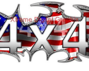 American Flag 4x4 Truck Graphic Stickers Kit