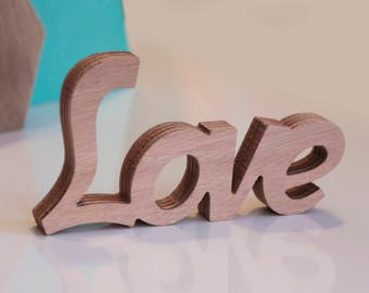 """Free standing wooden word """"Love"""""""