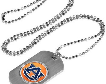 Auburn Tigers Stainless Steel Dog Tag Necklace